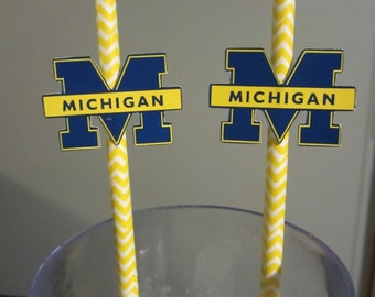 Party straws, paper straws, Michigan Wolverines, sports theme, football, basketball, college, NCAA