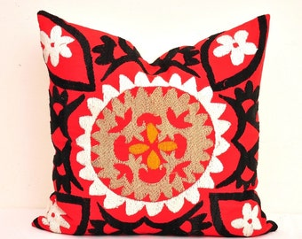 Throw Pillow Cover-Throw Suzani Pillow -Suzani Pillows-Suzani Cushion-Decorative Pillow Cover-Decorative Suzani Pillows-Decorative Throws