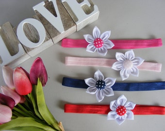 Four Colour Baby Girls Headbands, Girls Headband, Flower Headband, Flower Button Headband,