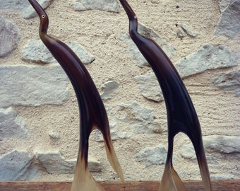 Couple of birds Horn cow - big beaks vintage Brown bird - cow horn