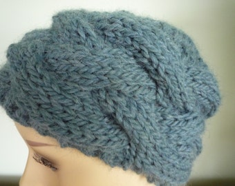 Teal hand knit cabled hat, wool and alpaca