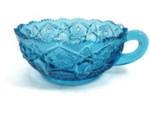 LE Smith Cobalt Blue Quintec Button / Heritage Pressed Glass  Handled Nappy - 1960s Vintage Candy Dish - Quintec Heritage