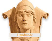 Athena - High Quality Decor Reproduction Carved Mask Greek Unique Wood Oak Beech Hand-carved