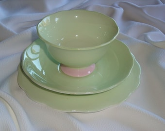 RARE Royal Albert Minty Green PASTELLA Bowl with Saucer and Plate