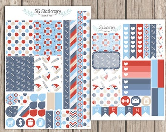 Nautical Planner Stickers, for use  with Erin Condren Planner , Functional Stickers, ECLP,  sea, nautical, nautical planner
