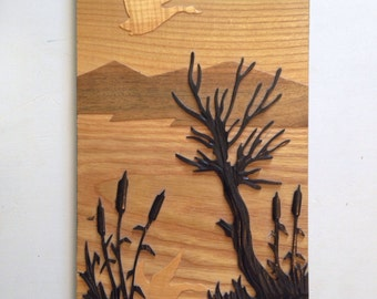 Wooden landscape art