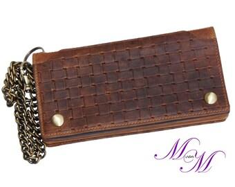 Chain stock - long exchange of ALLIUM made from brown leather - MANDY von MALTZAHN