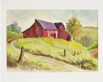 ORIGINAL painting, watercolor, barn, rural life, gift art, 18x24/mounted 22x28