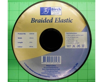 19mm wide braided elastic by the metre