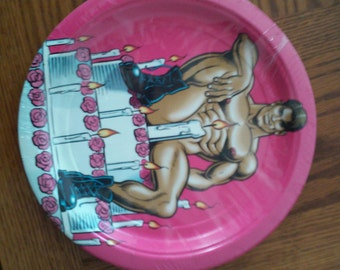Party Plates Hunk  Birthday Bachelorette shower or Gay Pride  pack of 8