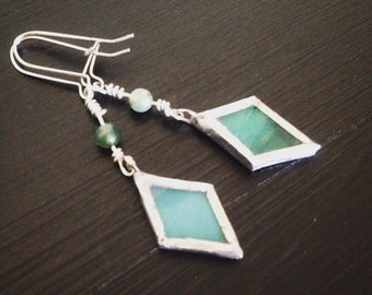 Turquoise Glass Diamond Fishook Earrings with Turquoise Bead, Stained Glass Earrings, Stained Glass Jewelry