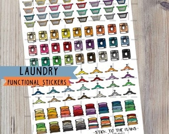 Laundry printable functional planner stickers laundry icon decorative stickers colorful laundry basket hanger washing machine clothes set