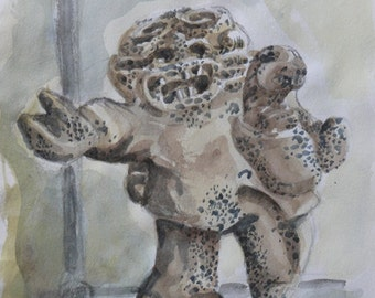 "Watercolor: ""Inuit Sculpture"""