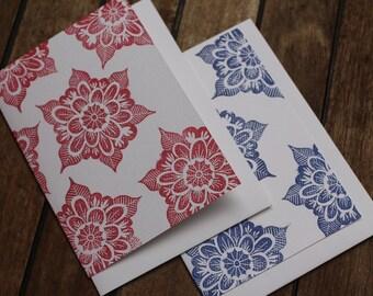 Floral mandala hand-printed card