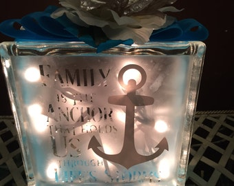 Family Anchor Lighted Glass Block.