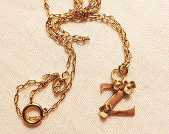 A-Z...Solid 9ct rose gold letter/ initial, personalised necklace or charm with tiny gold flowers on a gold chain.
