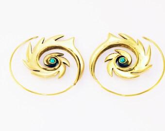 Spiral Earrings- Brass Earrings- Tribal- Festival Earrings