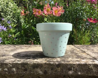 Hand Painted Spotty Plant Pot