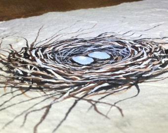 "Acrylic Painting on Hand Made Paper ""Windy Day Nest"""
