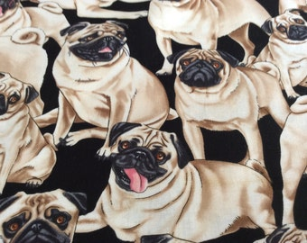 Timeless Treasure dog Pug  fabric sold  by the half yard