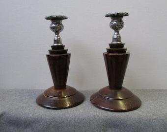 Pair of Art Deco candlesticks