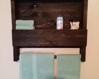Bathroom organizer and towel rod