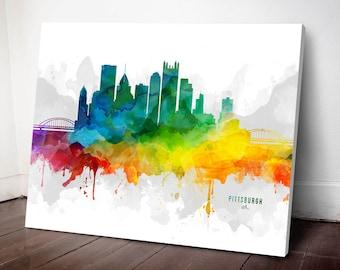 Pittsburgh Skyline Canvas, Pittsburgh Print, Pittsburgh Art, Pittsburgh Gift, Pittsburgh Cityscape, MMR-USPAPI05C