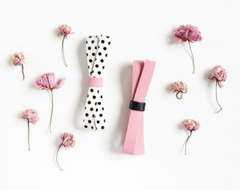 Adult, Girl, Baby Leather Bow Crocodile Clip or Nylon Headband, Retro Pink & Black Polka Dot Bow, Spring/Summer Bow, Baby Bow Baby Head band
