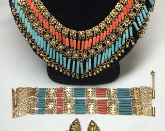 1920's Egyptian Revival Brass Filigree turquoise and Coral Parure set