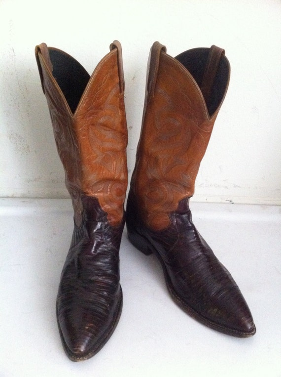 Orange and dark brown color men's cowboy boots from real