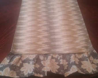 Staggered chevron and ruffle table runner