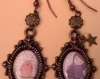 oval bronze cabochon earrings