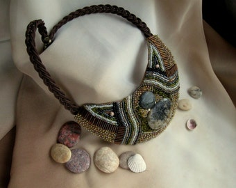 Handmade Bead Embroidered Necklaces with Natural Stones