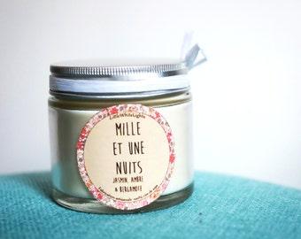 """Bougie parfumée naturelle """"Mille et une nuits"""" / Jasmin, ambre & bergamote"""