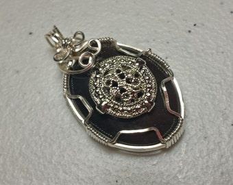 Black agate stone wirewrap pendant