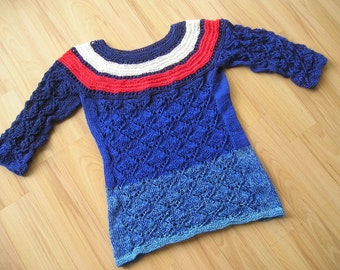 Summer sweater, knit sweater with lace pattern, Gr. 140