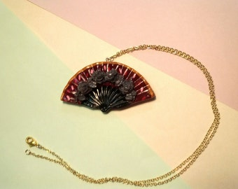 Hand fan necklace from polymer clay