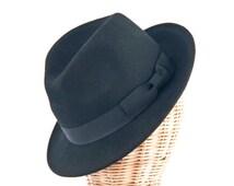 Black Blues Brothers men's Felt Fedora hat