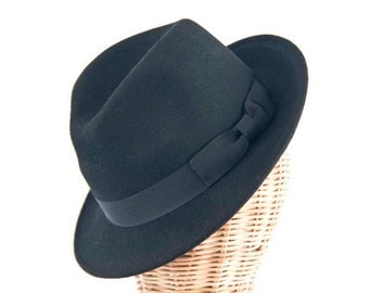 Black Blues Brothers men's Felt Fedora hat