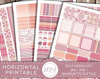 ECLP Horizontal Planner Kit, Printable Horizontal Planner Stickers, Weekly Planner Kit, Boho Planner Stickers, Pink Planner Stickers, HS103