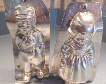 Dutch Boy and Girl #4208/74 and #4209/3 Vintage Metal Candy Mold