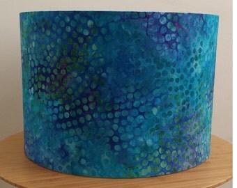Handmade batik pattern hues of blue fabric drum lampshade