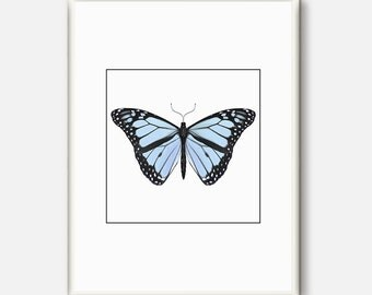 Butterfly, Art Print, Beautiful Butterfly Poster, Butterfly Wall Art, Natural History Giclee Print, Nature Print, Gift for Her,Blue Print