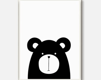 Bear Nursery Art Print, Animal Nursery Print, Bear Nursery Wall Art, Printable Kids Art, Black and White Nursery Decor, Baby Room Wall Art