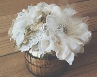 Handmade Fabric Flower Small Centerpiece, Fabric Flower Small Bouquet