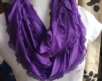 Purple Ruffle Infinity Scarf.  available in gray, black, white, mint green, peach, dark purple and grey.  Accessory for her.  Gift for her!