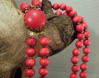 Wonderful old necklace with red wood beads