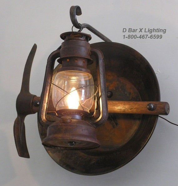 Electric Lantern Wall Lights : Rustic Lantern Miner s Wall Sconce Light