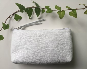 Leather Clutch, Cosmetic Bag, Makeup Bag, Leather Bag, Purse, Handbag Made Of Genuine Italian Calf Leather