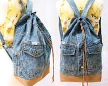 denim backpack acid wash repurposed jean jacket bucket drawstring bag vintage 80s 90s grunge backpack hipster laptop sleeve upcycle recycle